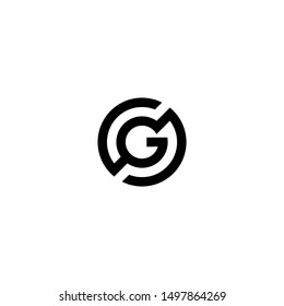 CG OR GC Circle Logo Design Template