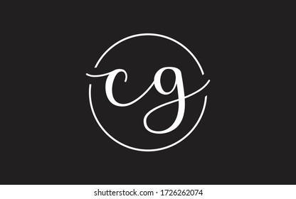 cg or gc Cursive Letter Initial Logo Design, Vector Template