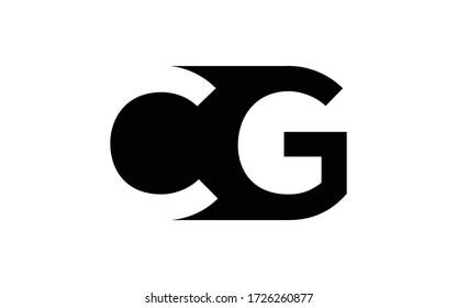 CG or GC Letter Initial Logo Design, Vector Template