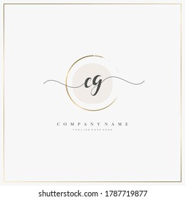CG Initial Letter handwriting logo hand drawn template vector, logo for beauty, cosmetics, wedding, fashion and business, and other