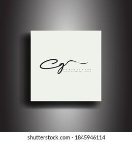 CG Signature style monogram.Calligraphic lettering icon and handwriting vector art.