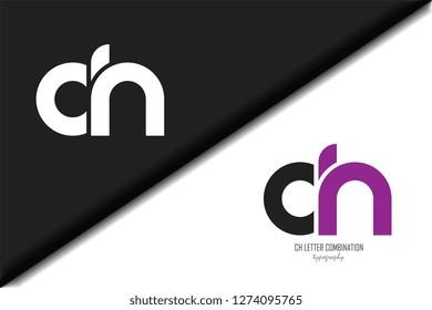 ch c h circle letter black purple white lowercase combination modern creative alphabet gradient company letter logo design vector icon template trendy - Vector