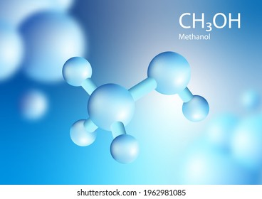 CH3OH methanol, Blue 3D shape of Methane is a chemical compound with the chemical formula Floating in the air. 3d illustration chemistry. Vector.
