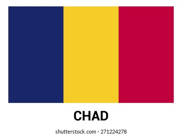 Chad flag isolated vector in official colors and Proportion Correctly. country's name label in bottom