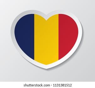 chad flag vector love heart shape