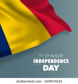 Chad happy independence day greeting card, banner, vector illustration. National day 11th of August background with elements of flag, square format