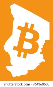 Chad map with bitcoin crypto currency symbol illustration