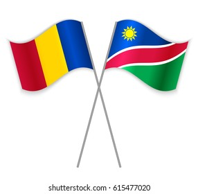 Chadian and Namibian crossed flags. Chad combined with Namibia isolated on white. Language learning, international business or travel concept.