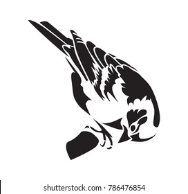 Chaffinch. Stencil for laser cutting. Vector bird isolated on white background. Black and white logo, sign, emblem, symbol. Stamp. Simple illustration. Sketch. Die cut. Laser cut template.