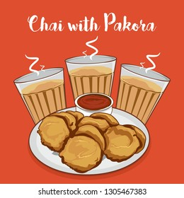 Chai or tea with pakora vector illustration. indian snacks