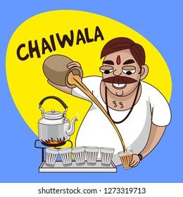 chai wala cartoon character indian stree tea seller