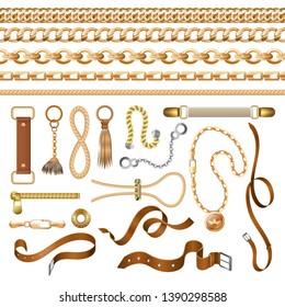 Chain and belt elements. Golden braid leather strap and furniture, fashion ornamental elements. Vector vintage elegant baroque bracelets and buckles
