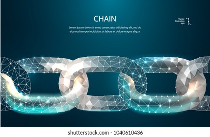 Chain. Blockchain link sign low poly design. Internet technology chain icon triangle polygonal hyperlink security business network concept. chain with polygon line on abstract background. Vector chain