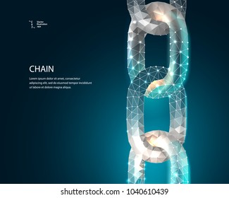 Chain. Blockchain link sign low poly design. Internet technology chain icon triangle polygonal hyperlink security business network concept. chain with polygon line on abstract background. Vector