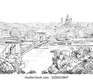 Chain Bridge. Budapest. Hungary. Europe. Hand drawn vector illustration.