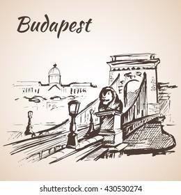 Chain Bridge - Budapest, Hungary. Isolated on white background