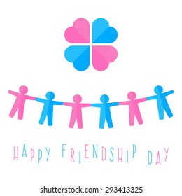 A chain of colored paper men fighting over hands and heart in a circle. day of friendship. vector illustration