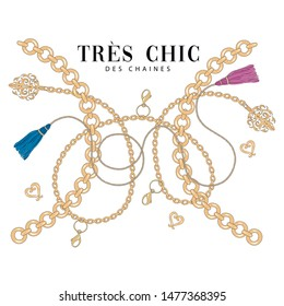 Chain elements of jewelry with french slogan for t-shirt print and design. Very chic.