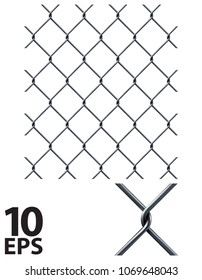 Chain Fence. Pattern for continuous replicate. Realistic vector 3d illustration