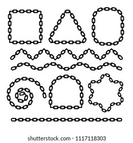 Chain flat border monochrome design to create frames, dividers with corners and ends. Metallic symbol of safety, connection, security. Black oval links for strength, protection or belonging concept.