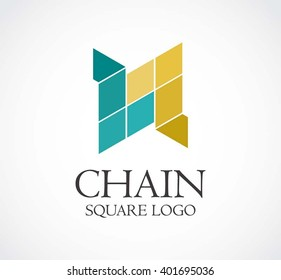 Chain of geometric arrow abstract vector and logo design or template connection line business icon of company identity symbol concept
