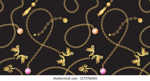 Chain gold baroque pendants necklace pattern fashion vector design. Gold jewelry accessories seamless vector print for scarf print and dress.