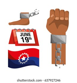 chain in the hand and foot with calendar and flag