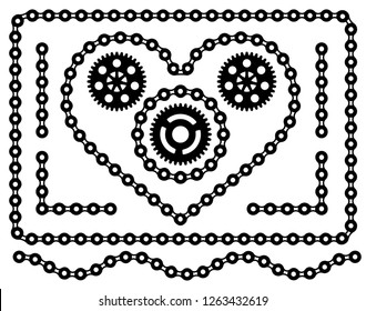 Chain heart with gears in a frame isolated on white background. Laser cut. Template. Steampunk border. Mechanical pieces. Vector Illustration. Silhouette design.