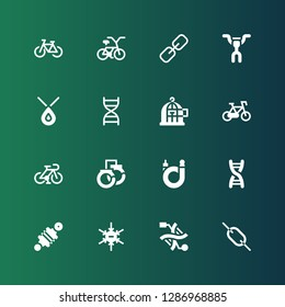 chain icon set. Collection of 16 filled chain icons included Link, Dna, Negative ion, Damper, Bicycle, Handcuffs, Freedom, Necklace, Handlebar