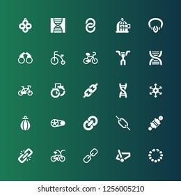 chain icon set. Collection of 25 filled chain icons included Pearl necklace, Bicycle, Link, Damper, Crankset, Punching bag, Positive ion, Dna, Handcuffs, Handlebar, Necklace, Freedom