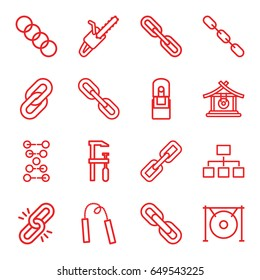 Chain icons set. set of 16 chain outline icons such as gong, chainsaw, structure, office supply, dna
