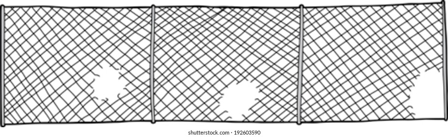 Chain link fence with cut out holes on white background