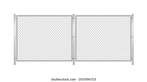 Chain link fence. Realistic metal wire mesh fence on white background. Portable wired metal barrier for defense and control. 3d vector illustration
