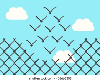 Chain link fence transforming into wire mesh birds flying away. Freedom, success, positive thinking, motivation, inspiration and courage concept. EPS 8 vector illustration, no transparency