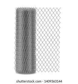 Chain link mesh fencing with hexagonal eyelet, metal rabitz netting in roll 3d realistic vector illustration isolated on white background. Fence, barrier construction material woven from steel wire