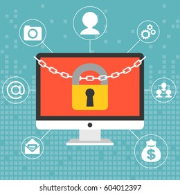 Chain and lock on computer screen, security for system concept on digital background, flat design
