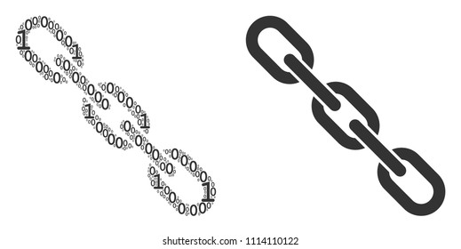 Chain mosaic icon of zero and null digits in variable sizes. Vector digit symbols are grouped into chain composition design concept.