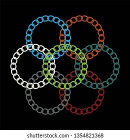 Chain Rings. Clip art of various circular chain designs