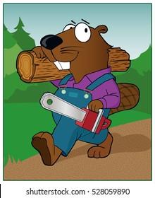 Chain Saw Beaver / A beaver carries a chain saw.