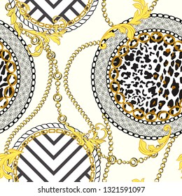 Chain seamless pattern with leopard skin elements. Animal print. Baroque trend. Vector illustration