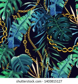 Chain seamless pattern with tropical leaves. Baroque trend. Gold stripes. Vector illustration
