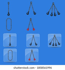 Chain slings set, and glass buttons with chain slings icon