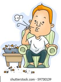 A Chain Smoker - Vector