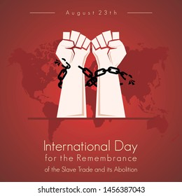 """the chain vector design is broken and free for """"International Day for the Remembrance of the Slave Trade and its Abolition"""""""