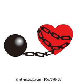 Chained heart vector with a heavy iron ball. Concept of lacking freedom.