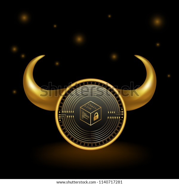 Chainlink Cryptocurrency Coin Bull Market Background Stock Vector