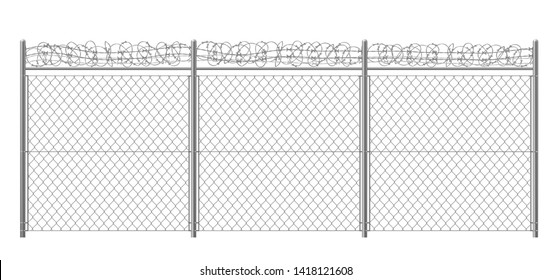Chain-link fence fragment with metallic pillars and barbed or razor wire 3d realistic vector illustration isolated on white background. Secured territory, protected area or prison fencing