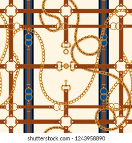 Chains and belts. Vector seamless pattern.
