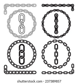 Chains. Vector illustration. Chain icons, parts, circles of chains. The file contains pattern brushes for all the four types of chains