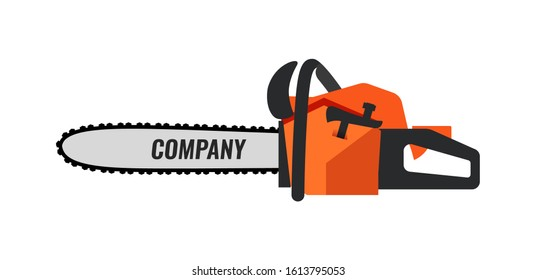 Chainsaw icon illustration for Retail Company or Timber Professional Service. Flat image isolated on white.